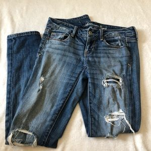 American Eagle Patchwork Distressed Skinny Jeans 4